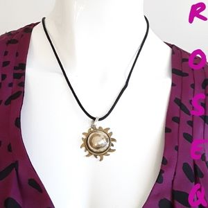Sun & moon pendant cord necklace